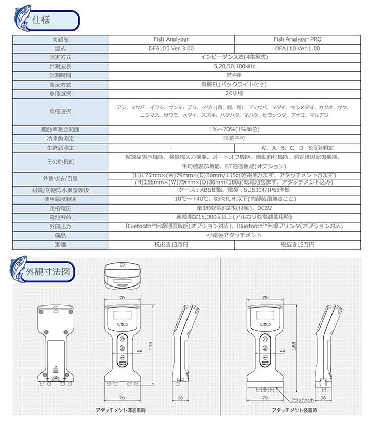 魚用品質状態判別装置 フィッシュアナライザ DFA100&DFA110