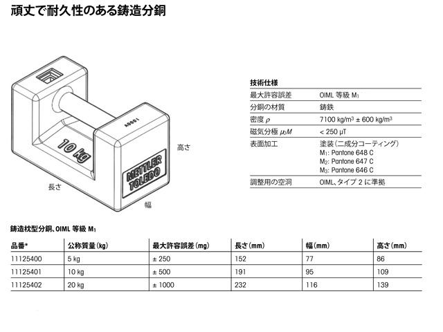 メトラー・トレド製鋳鉄製枕型分銅5kg・10kg・20kg