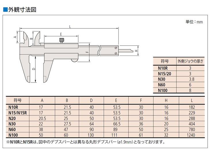 M型標準ノギス外観寸法図