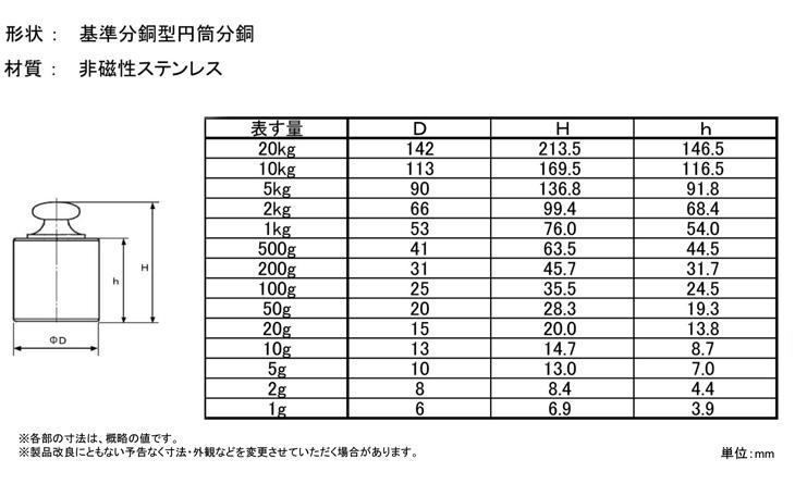 ステンレス基準分銅型円筒分銅寸法図