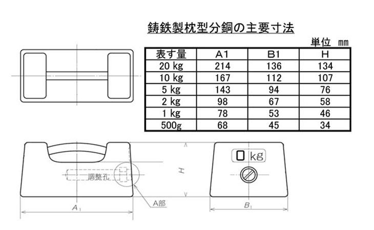 鋳鉄製枕型分銅寸法図